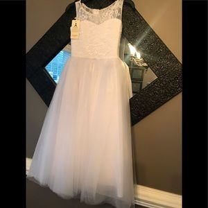 Girls beautiful white floor length dress